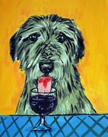 IRISH WOLFHOUND dog wine 8.5x11  artist prints animals impressionism gift