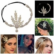 Pearl Headpiece Headband Great Gatsby Inspired Leaf Medallion 1920's Flapper New