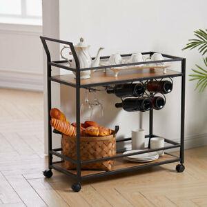 2 Tier Industrial Metal Frame Drinks Serving Trolley Cart Kitchen Storage Rack