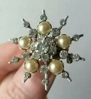 Vintage Star 50s Faux Pearl Clear Crystal Riveted Silver Tone Retro Pin Brooch