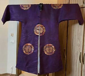 """Antique Chinese Qing Dynasty Hand Embroidery Silk Robe Long 53"""" Chest 60"""""""