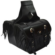 AQWA Motorbike Motorcycle Universal Saddle Bag Pair Top Quality Leather, Black