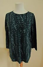 Talbots Woman Merino Wool Sweater 1X Teal Green Black Print 100% Pure 3/4 sleeve