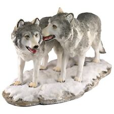 "Two Wolves Wolf Figurine Statue 11.75"" Long - Highly Detailed Resin New In Box"