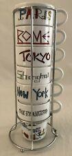 World Market International Cities 6 Stacking Coffee Mug Cups & Rack 7 Piece Set