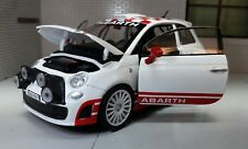 LGB G Scale 1:24 Fiat 500 Abarth White Rally R3T 2009 Motormax Diecast Model Car