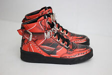 Moschino Metal Logo Strap High-Top Leather Sneaker - Red / Black - 40 / 7US (N3)