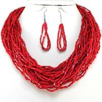 Red Layered Necklace Earrings Seed Bead Jewelry Set Handmade Bali