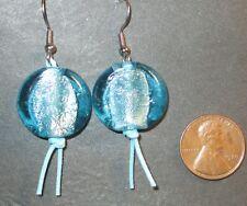 Pierced Earrings Blue Art Glass Bead Cord Silver Tone Surgical Steel Wire New
