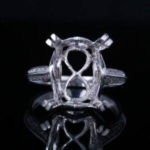 Silver Setting13x11mm Emerald Radiant Cushion Semi Mount Natural SI Diamond Ring