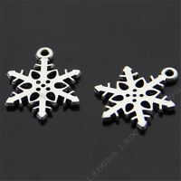 100pc Tibetan Silver Christmas Snowflake Pendant Charms Jewellery Making B344J