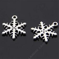 30pc Retro Charm Christmas Snowflake Pendant Dangle DIY Jewelry Pendants 344H