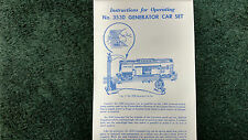 LIONEL # 3530 GENERATOR CAR SET INSTRUCTIONS PHOTOCOPY