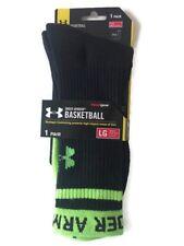 Under Armour Basketball Socks Men Crew Sock Sports Heatgear Black Green Large