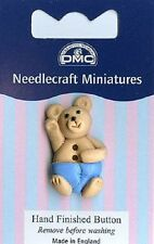 DMC Light Blue Boy Teddy Button - Needlecraft Miniatures KG48