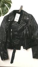 Zara black studded  leather biker jacket size XS / S