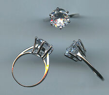 925 STERLING SILVER 3. CARAT 10 MM ROUND CUT SPARKLING CZ ENGAGEMENT RING SIZE 6
