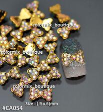 10pcs Nail Art Decoration Gold Bow Knot Glitter Multi_color Rhinestone #CA054