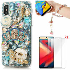 Bling Soft Phone Case With 2 Glass Screen Protector Film & Crystals Hand Strap S