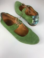 Womens Think! Leather Suede Green Shoes Size 7/40 Summer Holiday Comfort Soft