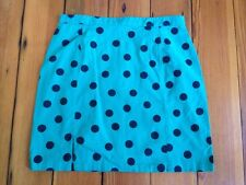 "Vintage 80s 90s Handmade Mod Polkadot Teal Green Pencil Mini Skirt 30"" Waist"