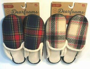 Dearfoams In/Outdoor Plaid Slippers womens Sz S 5-6, XL 11-12 MEMORY FOAM NEW