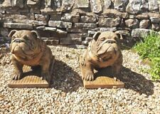 Pair Of Sitting Bulldogs Lifesized Lifelike Ornament Garden Statues