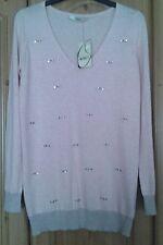 Oasis ladies v neck pink embelished jumper size xs