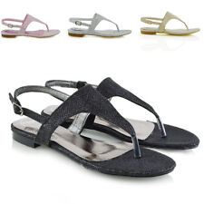 Womens Flat Sandals Ladies Toe Post Slingback Holiday Summer Beach Shoes Size