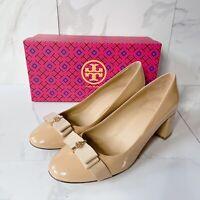 Tory Burch Trudy Block Heel Pumps w Bow T LOGO Beige Patent Leather US 9.5