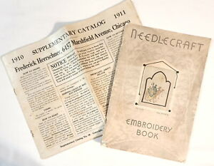 2 Antique Needlework Catalogs - Herrschner 1910 and Needlecraft Embroidery 1936