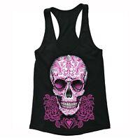 Womens Skull Pink Roses Sugar Skull Day Dead Dia de los Muertos Racerback Tank