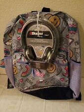 Star Point Tech-Ready Backpack/Bookbag With Headphones,  Grey Print,  BNWT