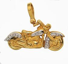 BRAND NEW SUPERB QUALITY 14KT GOLD HARLEY VINTAGE FAT BOY PENDANT w/ Diamonds