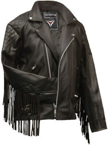 Brando Fringed Diamond Leather Motorcycle Jacket Black Retro Biker Mens Skintan