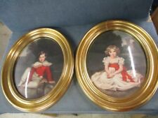 Oval Gold Art Prints boy Lord and Seaham girl Art Pair