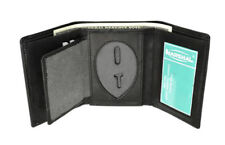 Black  Concealed Carry Badge Leather Mens Shield Wallet ID Security Officer
