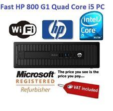 Cheap HP 800 G1 Desktop PC 4th gen Quad Core i5 CPU Windows 10 8GB RAM Computer