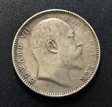 India (British) 1909 Rupee Silver Coin: Edward VII