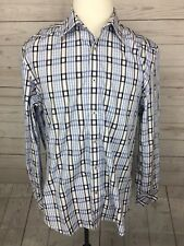 ZAGIRI MEN'S BUTTON DOWN LONG SLEEVE SHIRT - BLUE WHITE PLAID - SIZE LARGE US