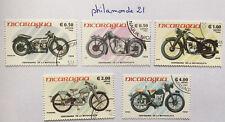Lot 5 timbres Nicaragua FDC. Motorcycles. 1985. Centenaire de la moto