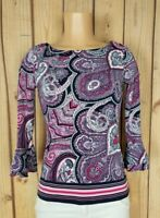 CHARTER CLUB Womens Size P Petite 3/4 Sleeve Shirt Boat Neck Paisley Print Top