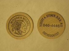 2 vintage wooden nickels wood nickel Indian head Orthodontist Promotional