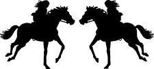 "Girl Horseback Riding Vinyl Car Horse Decals Stickers (2 - 12"" x 11"")"