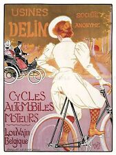 COMMERCIAL ADVERT BICYCLES CARS LEUVEN LOUVAIN BELGIUM POSTER ART PRINT BB1697A