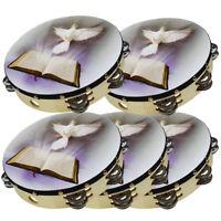 "5-Pcs Tambourine Row Jingle Percussion Instrument Church 10"" Dove Bible Musical"