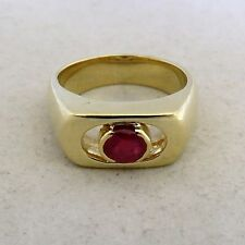 Vintage 18K Gold Men's / Unisex Ring with Ruby  (10.7 grams, size 6.75)