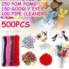 500pcs Handmade Chenille Craft Stems Pipe Cleaners 30cm +Pom Poms  +Eyes