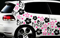 114x Auto Aufkleber Sterne Star Hibiskus Blume b Schmetterlinge HAWAI WANDTATTOO