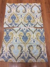 PAISLEY SHAMS SET OF 2 STANDARD FLORAL TAN BLUE NAVY WHITE 100% COTTON COUNTRY